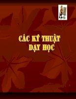Bài soạn Cac ky thuat day hoc