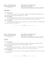 Tài liệu Lịch Sử 12: Đề thi - Đáp án HK1 2010-2011