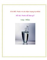 Chủ Đề: Nước và các hiện tượng tự nhiên - Đề tài: Nước để làm gì? - Lớp: Mầm