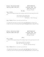 Tài liệu Ngữ Văn 11: Đề thi - Đáp án HK1 2010-2011