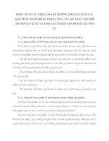 PHÂN TÍCH CÁC NHÂN TỐ ẢNH HƯỞNG TỚI GIÁ THÀNH VÀ GIẢI PHÁP NHẰM HOÀN THIỆN CÔNG TÁC KẾ TOÁN TẬP HỢP CHI PHÍ SẢN XUẤT VÀ TÍNH GIÁ THÀNH SẢN PHẨM TẠI CÔNG TY