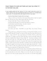 THỰC TRẠNG TỔ CHỨC KẾ TOÁN VẬT LIỆU TẠI CÔNG TY CƠ KHÍ MAY GIA LÂM