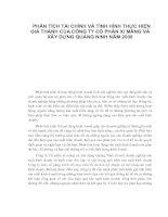 PHÂN TÍCH TÀI CHÍNH VÀ TÌNH HÌNH THỰC HIỆN GIÁ THÀNH CỦA CÔNG TY CỔ PHẦN XI MĂNG VÀ XÂY DỰNG QUẢNG NINH NĂM 2008