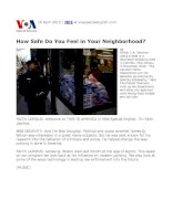 how safe do you feel in your neighborhood