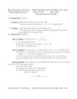 15 đề thi Học kỳ I môn Toán Lớp 9 và 1 đáp án tham khảo của Đà Nẵng ( từ 1995- 2010)