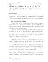 MỘT SỐ GIẢI PHÁP NÂNG CAO HIỆU QUẢ TÍN DỤNG TẠI NGÂN HÀNG NÔNG NGHIỆP VÀ PHÁT TRIỂN NÔNG THÔN