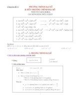 Chuyên đề 1: Phương trình đại số và bất phương trình đại số (Lý thuyết và áp dụng)