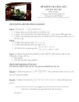 đề kiểm tra học kỳ I lớp 12(phân ban)