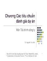 chương 9 các tiêu chuẩn đánh giá dự án