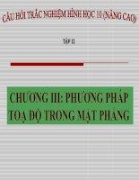 Trắc nghiệm Hình học 10 chương III: Phương pháp tọa độ trong mặt phẳng