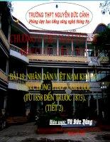 Bài 19 : Nhân dân Việt Nam kháng chiến chống Pháp xâm lược (tiết 2)