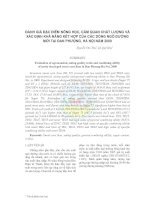 Tài liệu Đánh giá đặc điểm nông học, cảm quan chất lượng và xác định khả năng kết hợp của các dòng ngô đường mới tại Đan Phượng, Hà Nội năm 2009 doc