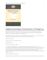 Tài liệu Applied Psychology: Driving Power of Thought docx