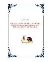 LUẬN VĂN CÁC HOẠT ĐỘNG TRUYỀN THÔNG MÔI TRƯỜNG TẠI CÁC TRƯỜNG ĐẠI HỌC TRÊN ĐỊA BÀN TP HỒ CHÍ MINH