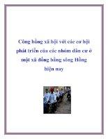 Tài liệu Công bằng xã hội với các cơ hội phát triển của các nhóm dân cư ở một xã đồng bằng sông Hồng hiện nay ppt