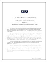 Tài liệu U. S. Small Business Administration Table of Small Business Size Standards Matched to North American Industry Classification System Codes pdf