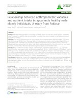 Tài liệu Relationship between anthropometric variables and nutrient intake in apparently healthy male elderly individuals: A study from Pakistan docx