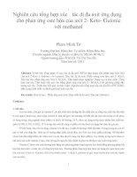 Nghiên cứu tổng hợp xúc tác dị đa axit ứng dụng cho phản ứng este hóa của axit 2  keto  gulonic với methanol