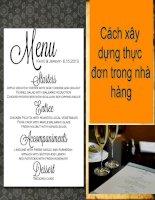 Tài liệu Cách xây dựng thực đơn trong nhà hàng ppt