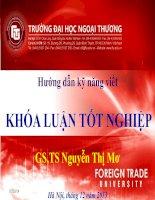 Hướng dẫn kỹ năng viết  KHÓA LUẬN tốt NGHIỆP  GS, TS NGuyen Thi Mo