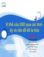 Vị thế của USD qua các thời kỳ và vấn đề đô la hóa