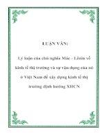 Tài liệu LUẬN VĂN: Lý luận của chủ nghĩa Mác - Lênin về kinh tế thị trường và sự vận dụng của nó ở Việt Nam để xây dựng kinh tế thị trường định hướng XHCN ppt