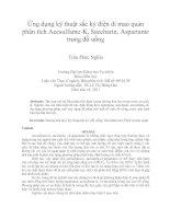 Ứng dụng kỹ thuật sắc ký điện di mao quản phân tích acesulfame k, saccharin, aspartame trong đồ uống