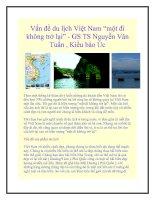 """Tài liệu Vấn đề du lịch Việt Nam """"một đi không trở lại"""" - GS TS Nguyễn Văn Tuấn doc"""