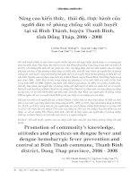 Tài liệu Nâng cao kiến thức, thái độ, thực hành của người dân về phòng chống sốt xuất huyết tại xã Bình Thành, huyện Thanh Bình, tỉnh Đồng Tháp, 2006 – 2008 docx