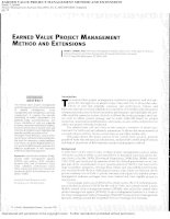 Tài liệu EARNED VALUE PROJECT MANAGEMENT METHOD AND EXTENSIONS doc