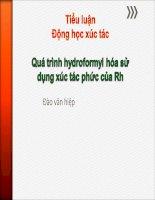 tiểu luận động học xúc tác quá trình hydroformyl hóa sử dụng xúc tác phức của rh