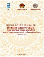 Tài liệu Ổn định kinh tế vĩ mô, duy trì đà tăng trưởng kinh tế Việt Nam năm 2010, triển vọng năm 2011 potx