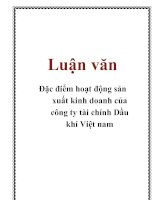 Tài liệu Luận văn: Đặc điểm hoạt động sản xuất kinh doanh của công ty tài chính Dầu khí Việt nam pdf