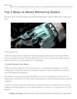 Top 3 Ways to Waste Marketing Dollars