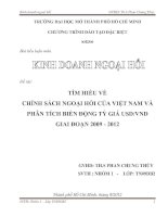 Tìm hiểu về chính sách ngoại hối của Việt Nam và phân tích biến động tỷ giá USD VND giai đoạn 2009 - 2012