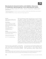 Tài liệu Báo cáo khoa học: Biochemical characterization and inhibitor discovery of shikimate dehydrogenase from Helicobacter pylori docx
