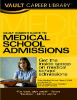 Tài liệu vault insider guide to medical school admissions pptx