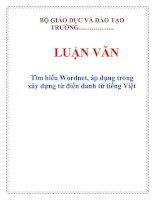 Tài liệu LUẬN VĂN: Tìm hiểu Wordnet, áp dụng trong xây dựng từ điển danh từ tiếng Việt docx