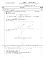 đáp án đề thi thử đh môn toán  lần 1 năm 2014 THPT Quốc Gia Chu Văn An