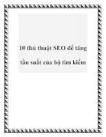 Tài liệu 10 thủ thuật SEO để tăng tần suất của bộ tìm kiếm pdf