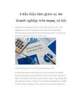 Tài liệu 4 dấu hiệu làm giảm uy tín doanh nghiệp trên mạng xã hội pdf