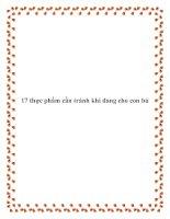 Tài liệu 17 thực phẩm cần tránh khi đang cho con bú pdf