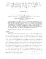 Sử dụng phương pháp dạy học phát hiện và giải quyết vấn đề hỗ trợ dạy học phần kim loại hóa học lớp 12 nâng cao –THPT