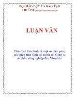 Tài liệu LUẬN VĂN: Phân tích tài chính và một số biện pháp cải thiện tình hình tài chính tại Công ty cổ phần công nghiệp đúc Vinashin pdf