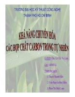 khả năng chuyển hóa các hợp chất carbon trong tự nhiên