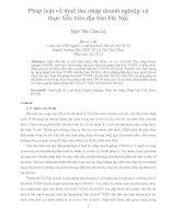Pháp luật về thuế thu nhập doanh nghiệp và thực tiễn trên địa bàn hà nội