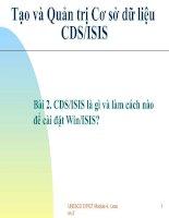Tài liệu Bài 2. CDS/ISIS là gì và làm cách nào để cài đặt Win/ISIS? pot