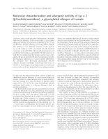 Tài liệu Báo cáo khoa học: Molecular characterization and allergenic activity of Lyc e 2 (b-fructofuranosidase), a glycosylated allergen of tomato pdf