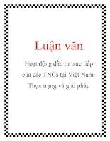 Tài liệu Luận văn: Hoạt động đầu tư trực tiếp của các TNCs tại Việt NamThực trạng và giải pháp docx