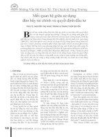 BCKH mối quan hệ giữa sử dụng  đòn bẩy tài chính và quyết định đầu tư   2011 TS trang